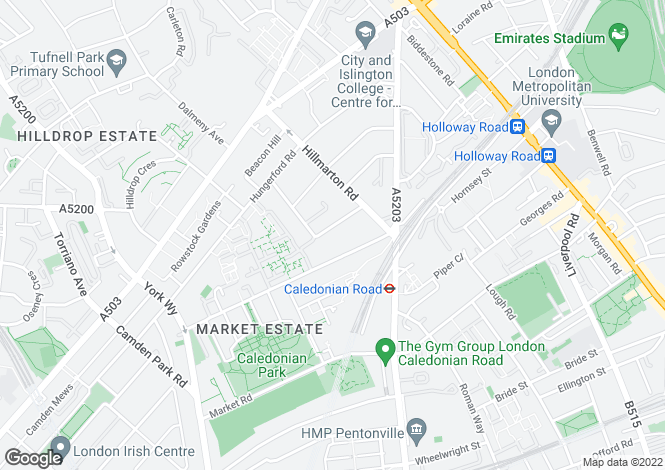 Map for Hartham Road, Holloway, Camden, London, N7