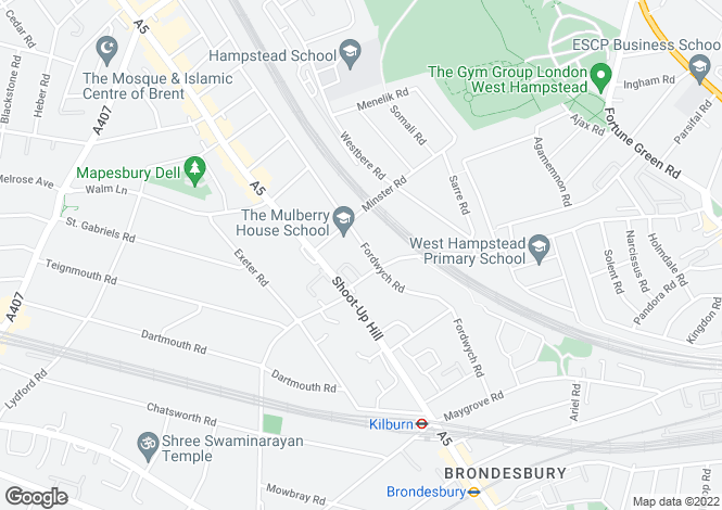 Map for Fordwych Road, West Hampstead, London, NW2
