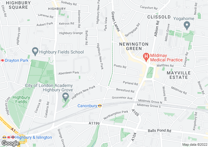 Map for Highbury, Canonbury, N5