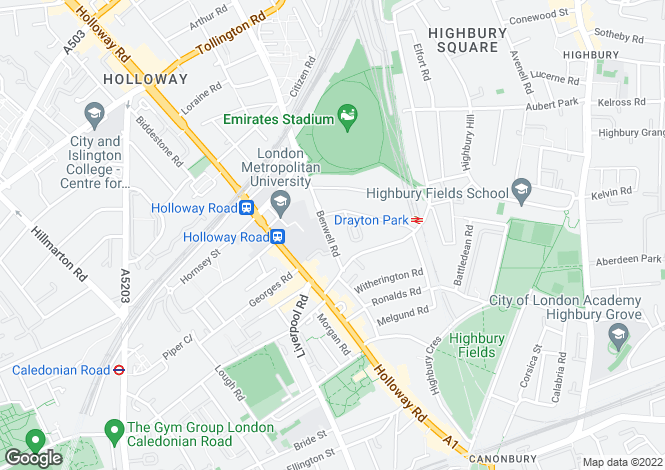 Map for Islington, Holloway, N7