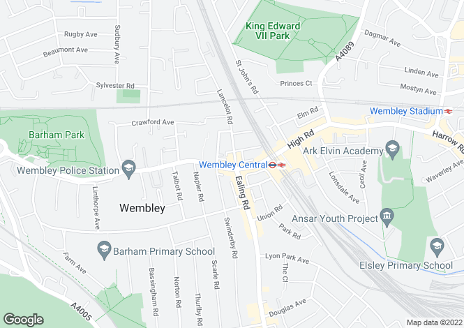 Map for High Road, WEMBLEY, Middlesex