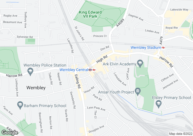 Map for WEMBLEY, Middlesex