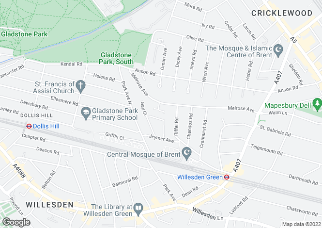 Map for Chanin Mews, 147 Melrose Avenue, Willesden Green, NW2