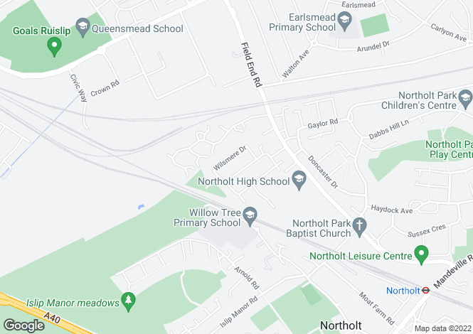 Map for Sandown Way, Northolt
