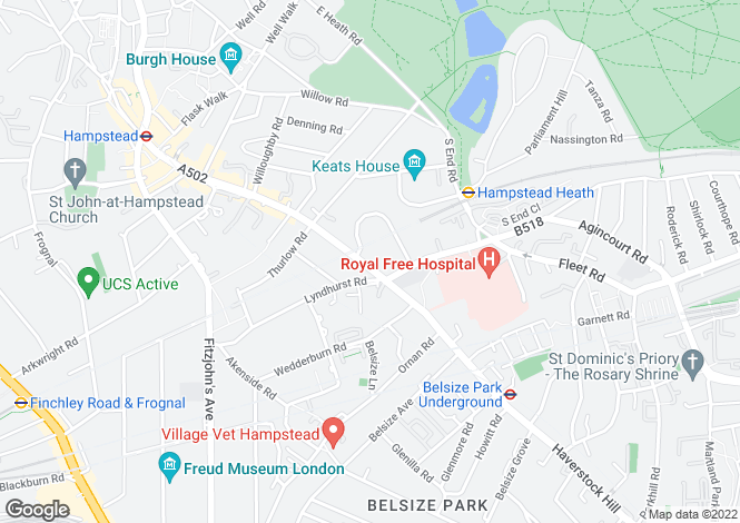 Map for Rosslyn Hill, Hampstead, NW3