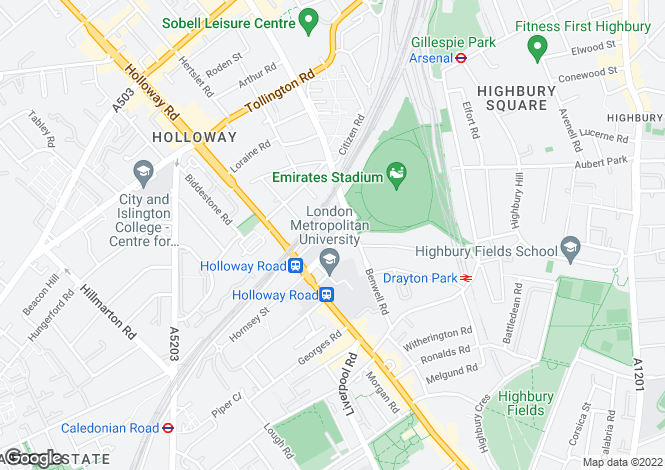 Map for Hornsey Road Holloway