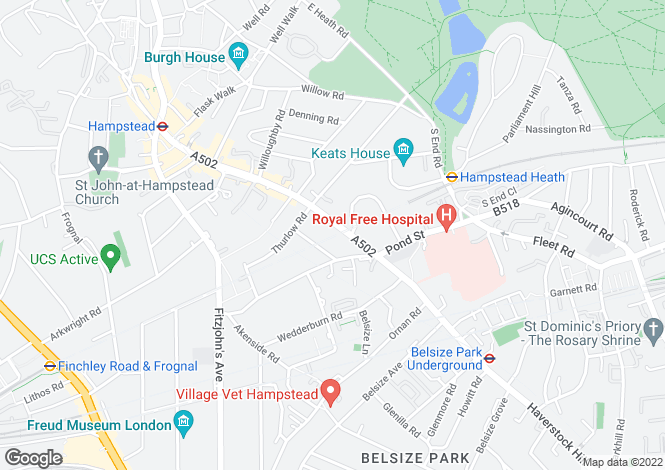 Map for Rosslyn Hill, Hampstead