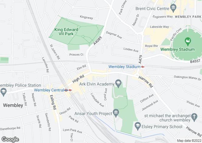 Map for 414 High Road, Wembley, London, HA9 6AH