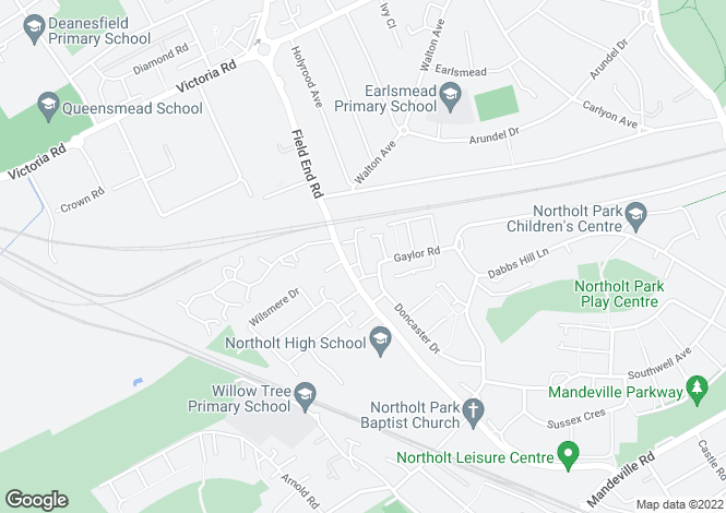 Map for Greenacre Close, NORTHOLT, Middlesex