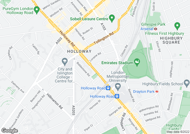 Map for 302-304 Holloway Road, London, N7 6NJ