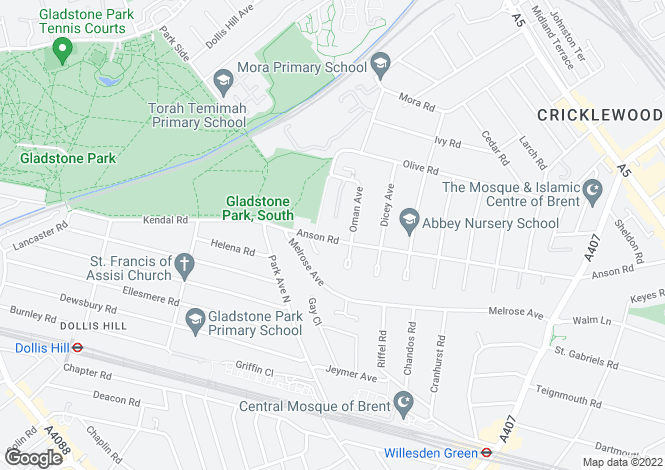 Map for Anson Rd, Cricklewood, London, NW2