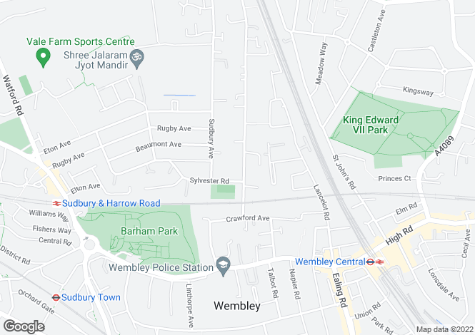 Map for Harrowdene Road, North Wembley, Middlesex