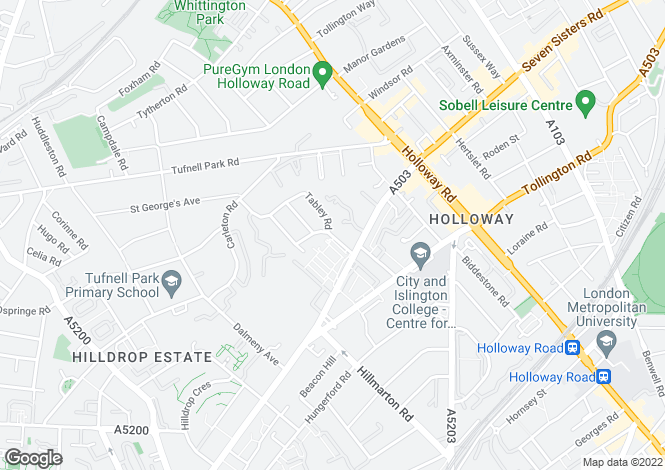 Map for Tabley Road, Holloway, N7 0LZ