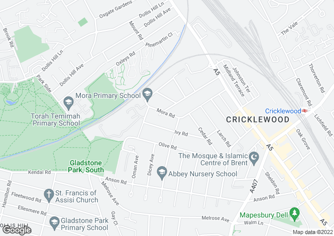 Map for Mora Road, Cricklewood, Brent, NW2