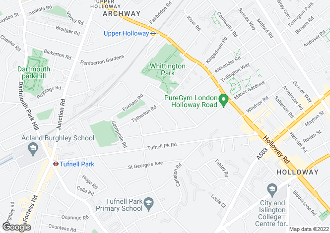 Map for Beversbrook Road, Archway, London, N19
