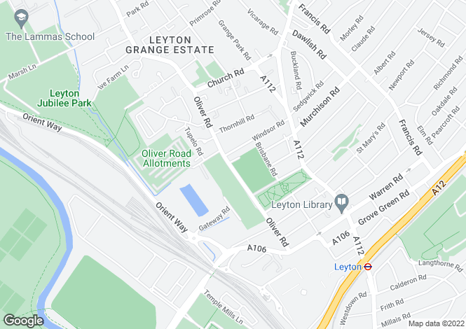 Map for Oliver Road, Leyton