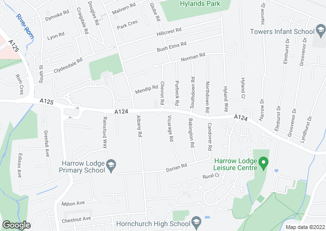 Map for Hornchurch Road,