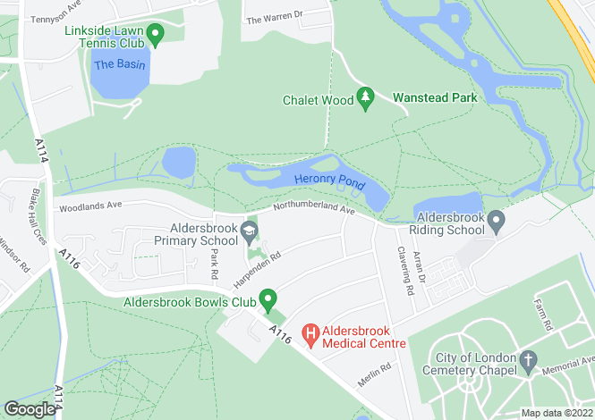 Map for Northumberland Avenue, Aldersbrook