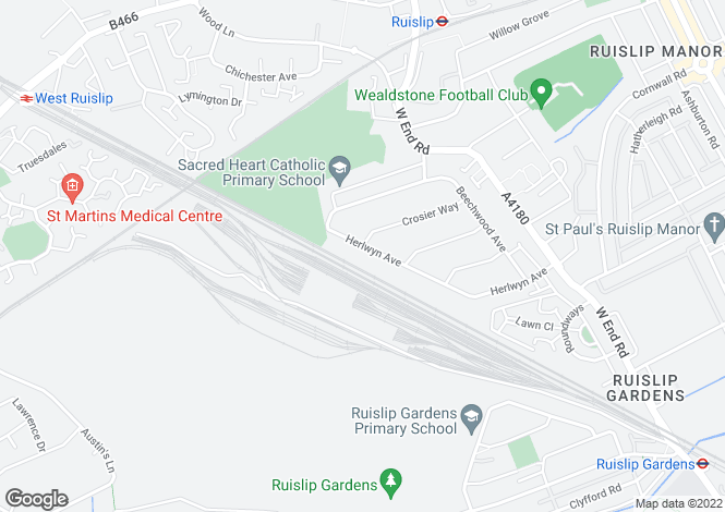 Map for Herlwyn Avenue, Ruislip, HA4