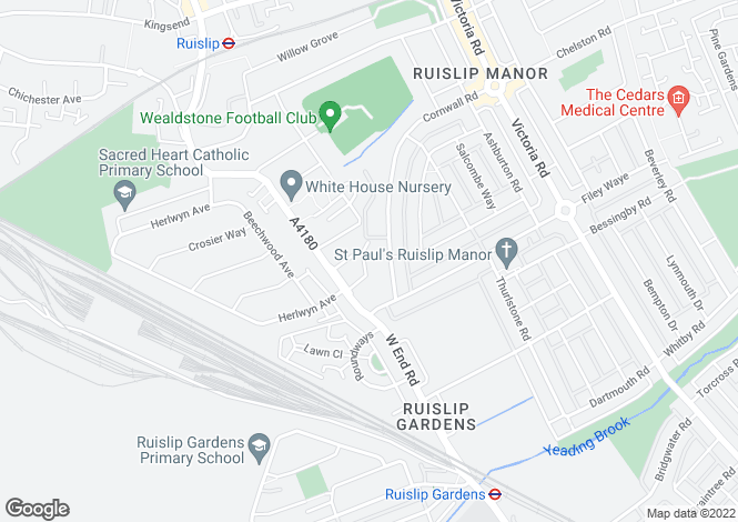 Map for Northdown Close, Ruislip