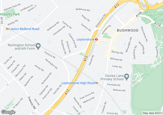 Map for Dyers Hall Road, Leytonstone, London