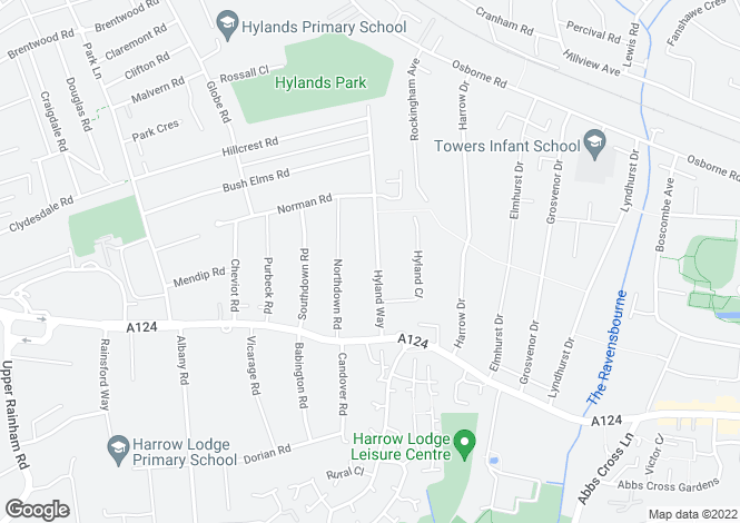 Map for Hyland Way,
