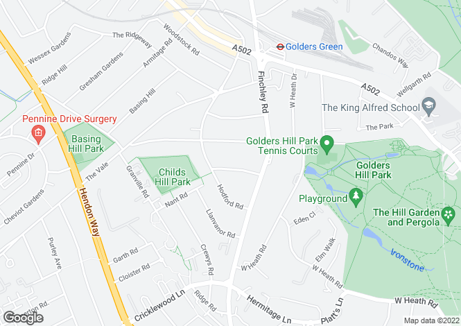 Map for Wycombe Gardens, Golders Green, London, NW11