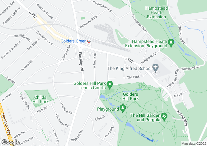 Map for West Heath Avenue, Hampstead