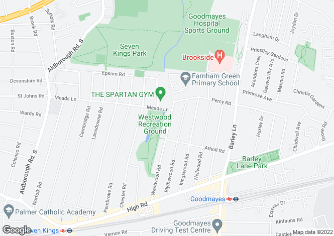 Map for Westwood Road,  Seven Kings