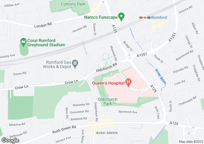 Map for Oldchurch Road, Romford, Essex