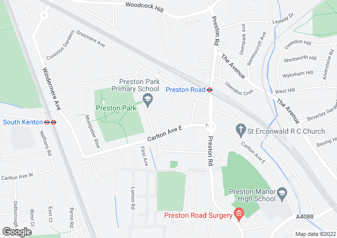Map for Glendale Gardens, Preston Road Area, Middlesex