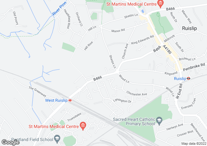 Map for Ickenham Road, Ruislip, Middlesex, HA4