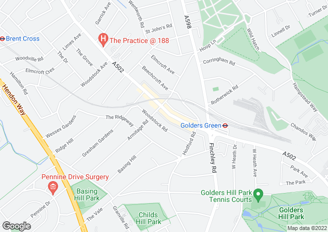 Map for Golders Green Road,  LONDON