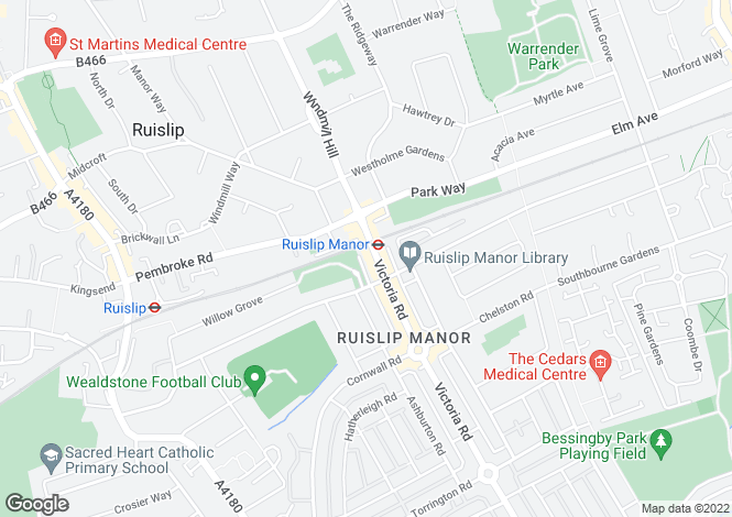 Map for Ruislip Manor, Middlesex