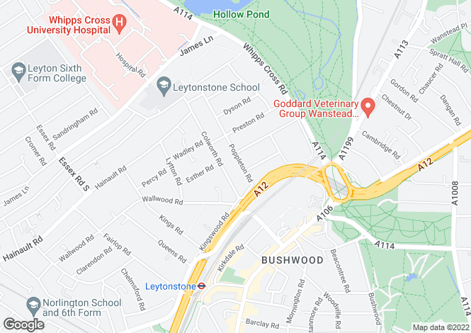 Map for Poppleton Road, Leytonstone, London, E11