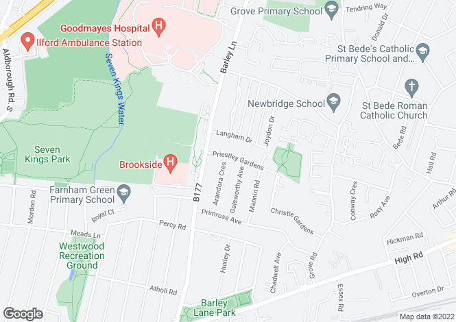 Map for Priestley Gardens, Chadwell Heath, ROMFORD, Essex
