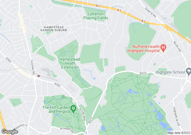 Map for Ingram Avenue, Hampstead Garden Suburb, London