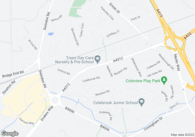 Map for Oxford Road, Swindon