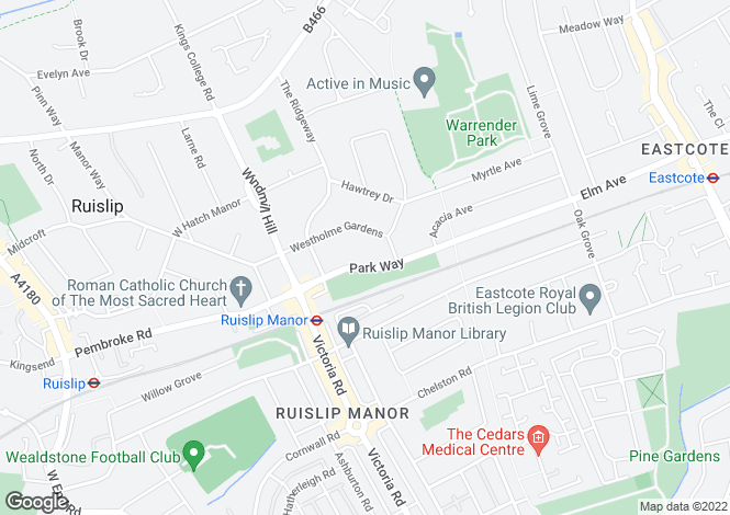 Map for Park Way, Ruislip, Middlesex