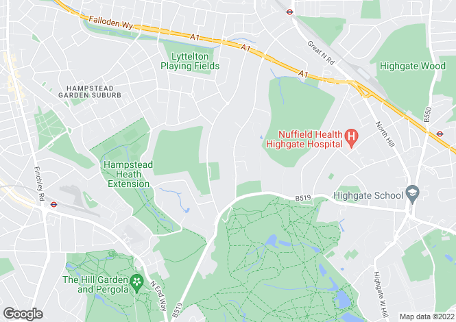 Map for The Bishops Avenue, Hampstead Garden Suburb, London, N2