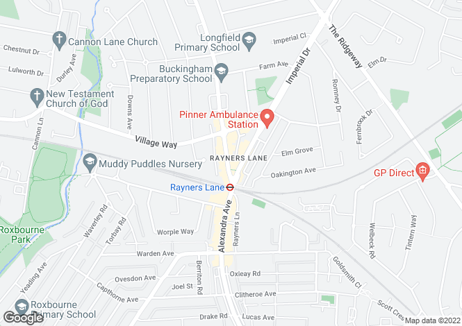 Map for Rayners Lane, Pinner