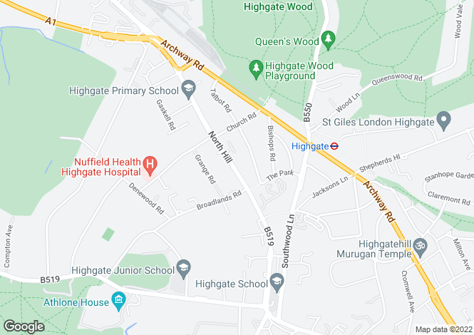 Map for North Hill, Highgate, London, N6