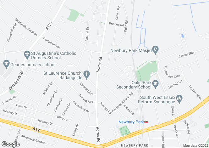 Map for Netley Road, Newbury Park, Ilford