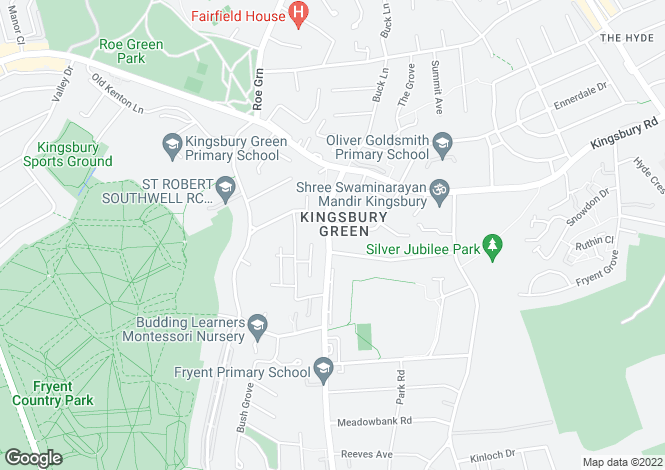 Map for Church Lane, Kingsbury, NW9