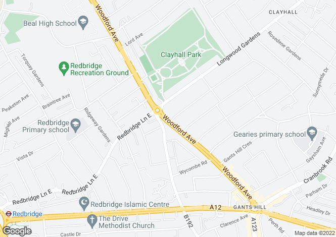 Map for WOODFORD AVENUE GANTS HILL, IG2