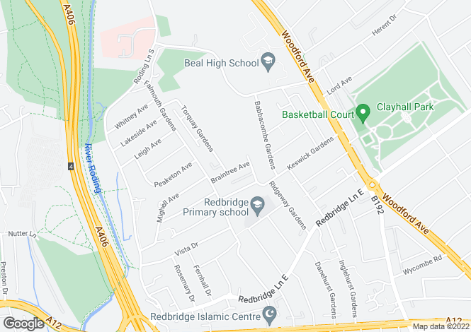 Map for Braintree Avenue, Redbridge, Essex, IG4
