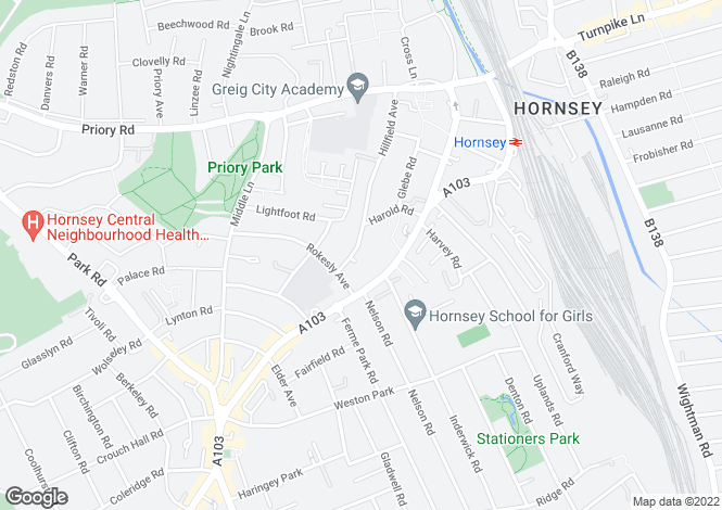 Map for Hillfield Avenue, Crouch End, London, N8