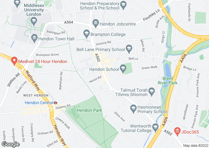 Map for Brent Street, Hendon