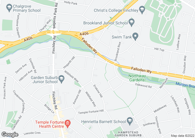 Map for Erskine Hill, Hampstead Garden Suburb