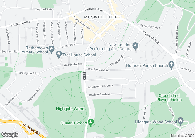 Map for Cranley Gardens, Muswell Hill, N10